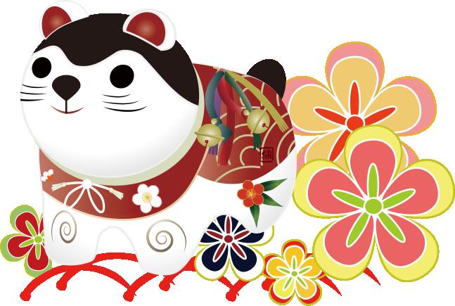 犬張り子と日本犬の子犬に紅型や和風の菊の着物柄のイラスト
