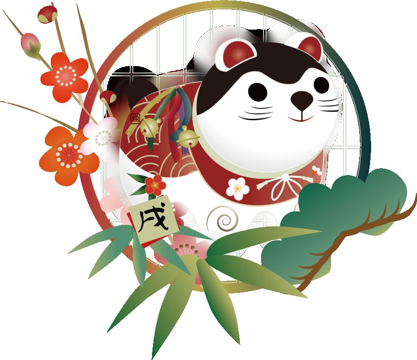 戌と松竹梅と椿の花のイラスト
