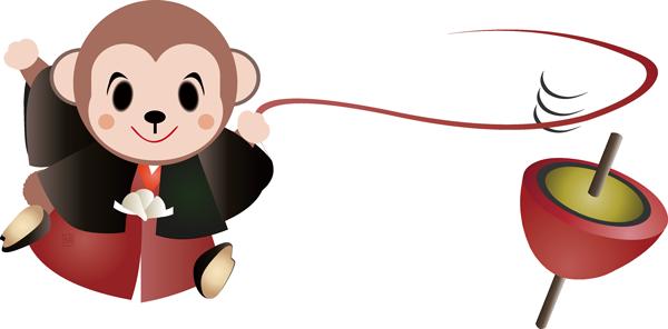 可愛いさる・男の子のキャラクター凧上げに餅つきのイラストです。