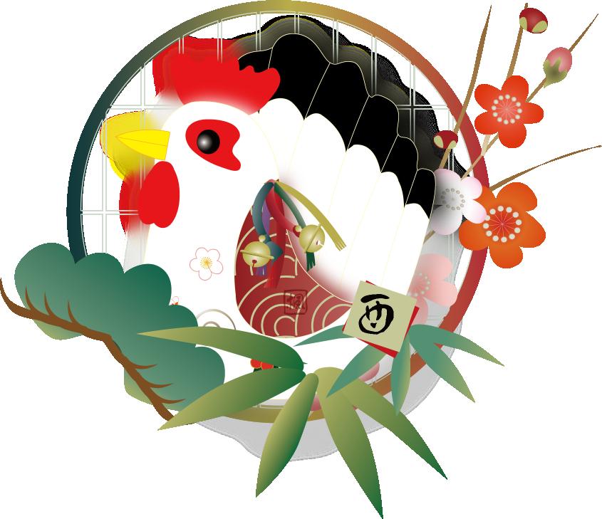 鶏と松竹梅と椿の花のイラスト