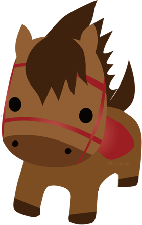 可愛い馬ぬいぐるみ風akの干支のイラスト年賀状素材